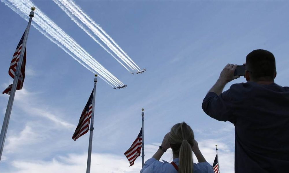Blue Angels and Thunderbirds perform flyover of Washington, D.C.